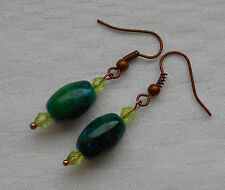 Unique handmade green chrysocolla barrel shaped copper plated earrings +stoppers