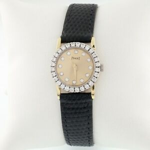 Piaget 18k or Jaune Femmes Quartz Montre W/Diamant Chaton Et Cadran non-Travail