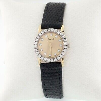 Piaget 18k Oro Amarillo de Mujer Quartz Reloj W/ Bisel con Diamantes Y Esfera