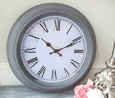 NEW Large Grey Chic Shabby Distressed Wall Clock French Antique Vintage 40cm