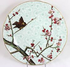 FINE 1870 ANTIQUE MINTON CHINA CABINET PLATE HAND PAINTED BIRD PINK FLOWERS GOLD