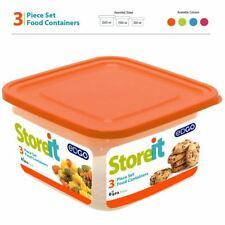 3Pc Small Large Assorted Plastic BPA Free Food Container Set Storage Box Lid Tub