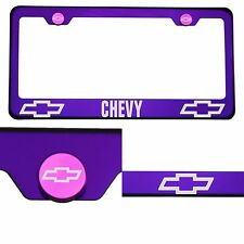T304 Candy Purple License Plate Frame Stainless Steel Silver Chevy Laser Etched