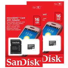 LOT OF 2 SanDisk 16GB MicroSD Micro SDHC Class 4 Flash Memory Card RETAIL 32GB