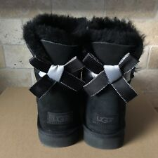 UGG MINI BAILEY BOW II SHIMMER BLACK SUEDE BOOTS SIZE US 11 WOMENS