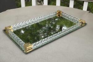 "Murano Mirrored Vanity Tray Twisted Glass Rails Brass Hollywood Regency 16""x9"""