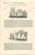 Grands Voiliers Brick Lougre Goelette Chebec à Voiles Cutter GRAVURE PRINT 1835