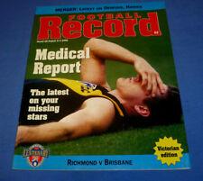 1996 AFL Football Footy Record Rnd 18 Brisbane Def Richmond Victorian Edition