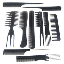 10 pc Black Professional Combs Hairdressing Salon Styling Wide Fine Tooth Tail