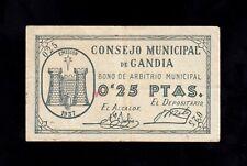 F.C. GANDIA , 0,25 PESETAS , MBC- .