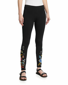 Johnny Was Black MARIS LEGGING BLACK Leggings Cotton Flowers Embroidery SMAL NEW