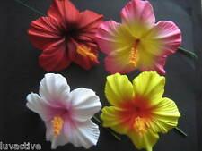 HAWAIIAN Hibiscus FLOWER FOAM HAIR Picks Red Yellow Pink Wedding Luau Prom Bride