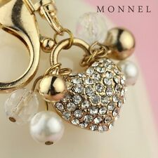 Z643 Adorable Crystal Heart Love Key Ring Keychain with Clasp