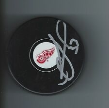 Yves RACINE Signed DETROIT RED WINGS Puck