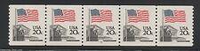 US #1895a Pl #4 20¢ Flag Over Supreme Court Stamp PNC 5 Plate Number Coil Strip