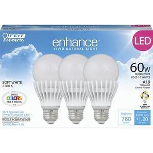 NEW Feit Dimmable 760 Lumen 2700K High CRI LED A19 Light Bulbs Soft White 3-Pack
