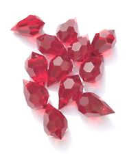 Czech Preciosa Crystal Teardrop Wine Red 12 Loose Beads