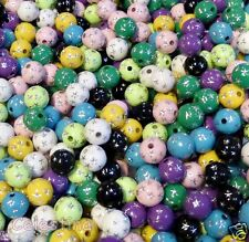 50 x Round Acrylic Beads Metal Star Design Mixed Colour 10mm Hole 2mm - PB98