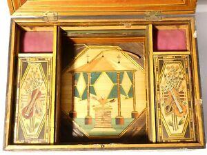 c1800 Napoleonic Prisoner of War French Straw Work Box a/f READ & L@@K 30x21cm