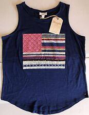 NWT Women's Wrangler Flag Style Graphic Navy Sleeveless Tank Top Large New