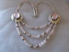 & Sterling Silver Beads Sunrise Necklace Carol Felley Chain of Rose Quartz
