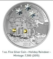 2015 Canadian Holiday Reindeer Silver Coin (99.99) 1oz Troy Mintage: 7,500