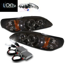 1994-1998 FORD MUSTANG TWIN HALO DRL LED PROJECTOR HEADLIGHTS SMOKE W/50W 6K HID