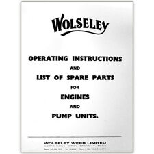 Stationary Engine Booklet - Wolseley Engines Instructions & Spare Parts for Engi