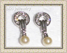 Pearl Simulated Cubic Zirconia Fashion Earrings