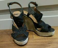 Lucky Brand Women's Ridgeview Black Peep Toe Platform Wedge Sandles Woman's 6 M
