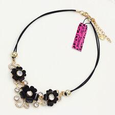 Betsey Johnson Black Resin Crystal Flowers Pendant Choker Chain Bib Necklace