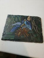 Collectible Vintage Hanging Hand Painted Slate Tile Birds & Flowers Sign RARE