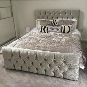 Upholstered Crushed Velvet Fabric Chesterfield Sleigh Bed Frame all size