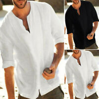 Men Half Sleeve Shirts Cotton Linen T-Shirt Casual V-Neck Loose Muscle Tee Tops
