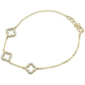 Yellow Gold Plated Clover Cubic Zirconia .925 Sterling Silver Bracelet