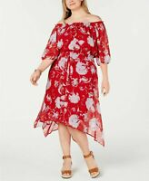 Tommy Hilfiger WOMEN'S Plus Size Off-The-Shoulder Peasant Dress,RED
