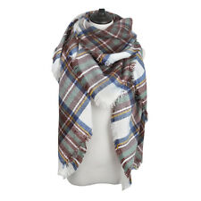 Premium Winter Large Soft Knit Plaid Checked Square Blanket Scarf Shawl Wrap