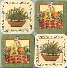 Longaberger Coasters Christmas Baskets Fruit Bird Pinecones Holly Greenery New