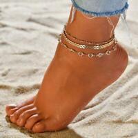 3Pcs/Set Ankle Bracelet Women Anklet Adjustable Chain Foot Beach Jewelry Gold