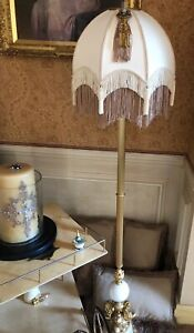 Victorian Traditional Downton Abbey Cream Cameo Fringed Tassel Beaded Lampshade