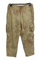 Lauren Ralph Lauren women's linen capri pockets pants flowered size 6