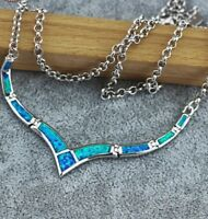 "Lovely Blue Fire Opal Sterling Silver Design Necklace 18"" Adjustable Chain"