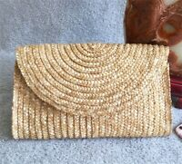 Brand New Straw Hand-woven Clutch Bag Fashion Wristlet Women Summer Beach Purse