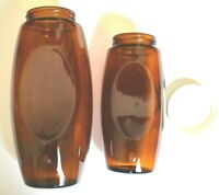 Two Vintage Shaped Rounded Oval Amber Glass Jars One With Original Lid