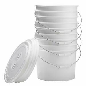 Hudson Exchange Premium 3.5 Gallon Bucket with Lid, HDPE, White, 4 Pack