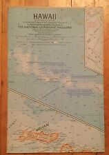 National Geographic Magazine Supplement Map July 1960 Hawaii
