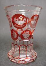 Biedermeier, Becherglas mit gravierten Allegorien. 19.Jh. Mundgeblasenes Glas.