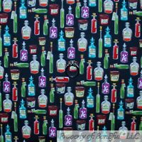 BonEful FABRIC FQ Cotton Quilt Black Purple Red White Witch Brew Potion Bottle S
