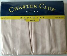 Charter Club Blush Stripe Twin Bed Skirt 100% Cotton 230 Thread Count