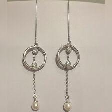 Freshwater 6 MM Shell Pearl 925 Sterling Silver CZ Drop Dangle Hook Earrings UK